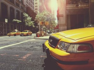 Taxi on the street.