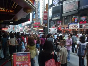 Crowded city center.