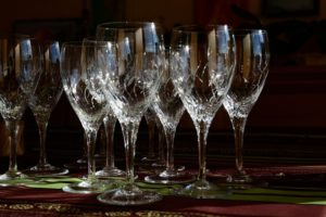 crystal glasses on the table