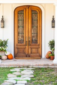 House door and pumpkins
