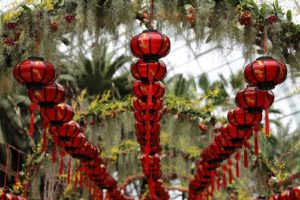 Chinese lamps hanging in the garden
