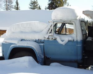 Winter truck cover in snow