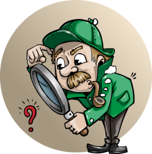 a cartoon drawing of a detective smoking a pipe and looking through a magnifying glass - be a detective and explore your options when  renting a moving truck