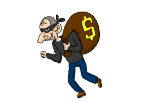 A cartoon image of a thief with an evil smile carrying a bag of money.
