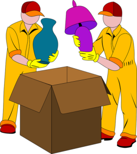 a cartoon drawing of two professional movers dealing with the packing - when they do the job well, you should tip your movers