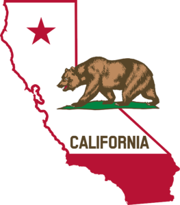California map and flag.