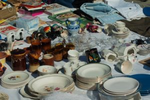 Items for selling on a garage sale.