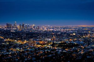 A view of Los Angeles at night.