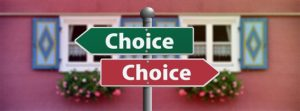 Street signs saying Choice in the opposite directions - Is Hollywood Hills a good place to live or perhaps not?
