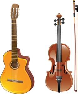An acoustic guitar and violin, protect your musical instruments if you want them to last