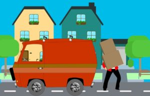 a cartoon drawing of a man loading some items onto a vehicle