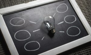 There is an electric bulb set in the middle of the blackboard and some circles drawn on both sides of the bulb.