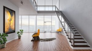 The interior of a spacious, highly modern house you could consider if you want to buy a beach house in California
