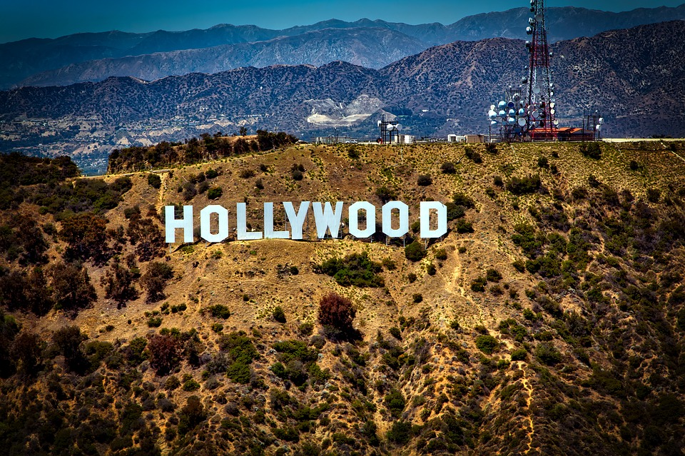 Hollywood sign on a hill above LA.