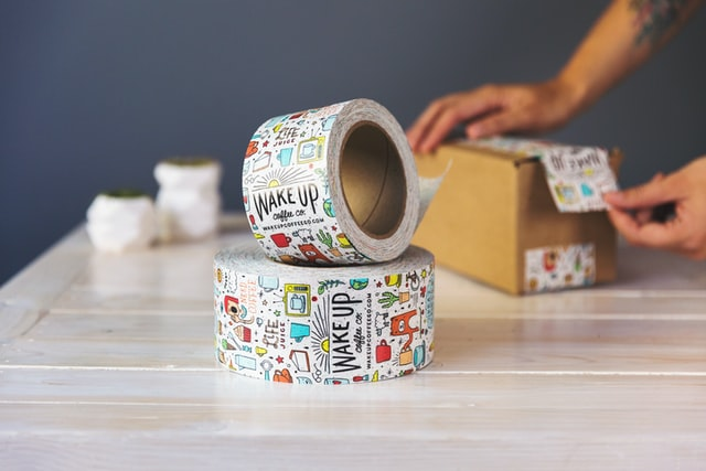 Colorful duct tape and a box