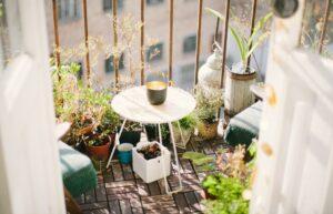 A balcony on a sunny day.