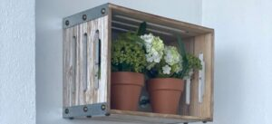 Wooden crate with flowers