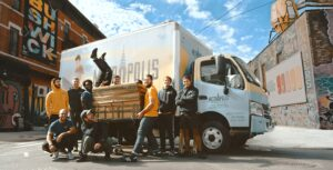 professional movers in front of the truck