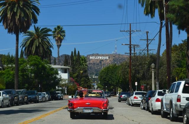 Hollywood and a car