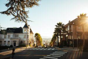 A street in a city in California.